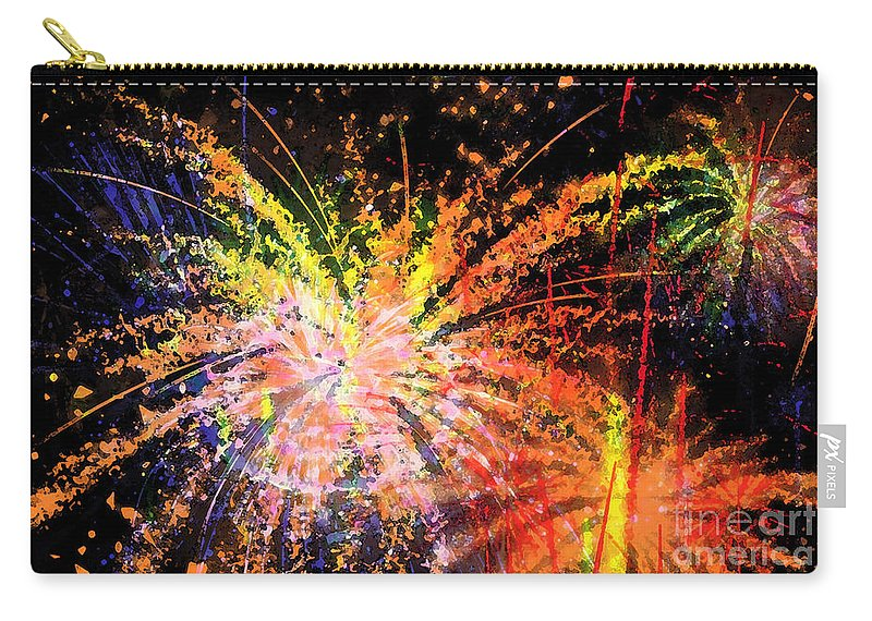 Fireworks Carry-all Pouch featuring the digital art Celebration by Richard Rizzo