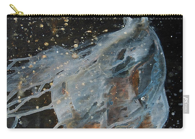 Horse Carry-all Pouch featuring the painting Celestial Stallion by Jani Freimann