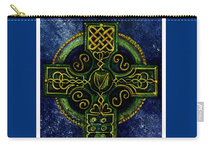 Elle Fagan Carry-all Pouch featuring the painting Celtic Cross - Harp by Elle Smith Fagan