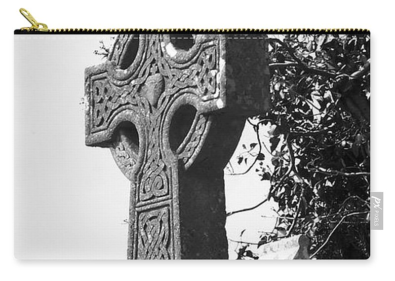 Celtic Carry-all Pouch featuring the photograph Celtic Cross At Fuerty Cemetery Roscommon Ireland by Teresa Mucha