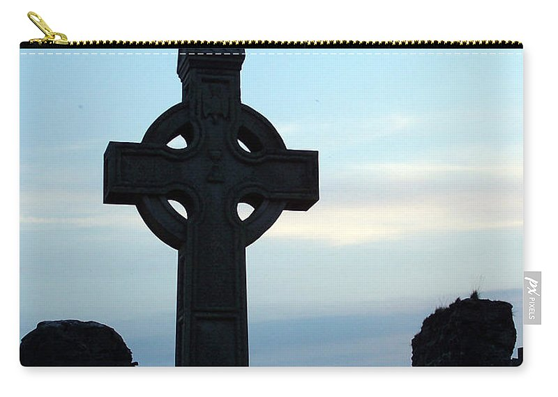 Irish Carry-all Pouch featuring the photograph Celtic Cross At Sunset Donegal Ireland by Teresa Mucha