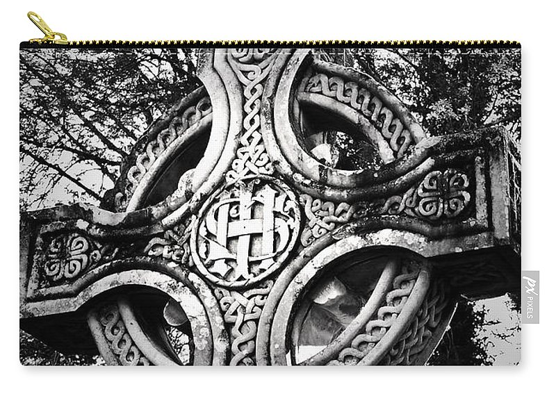 Irish Carry-all Pouch featuring the photograph Celtic Cross Detail Killarney Ireland by Teresa Mucha