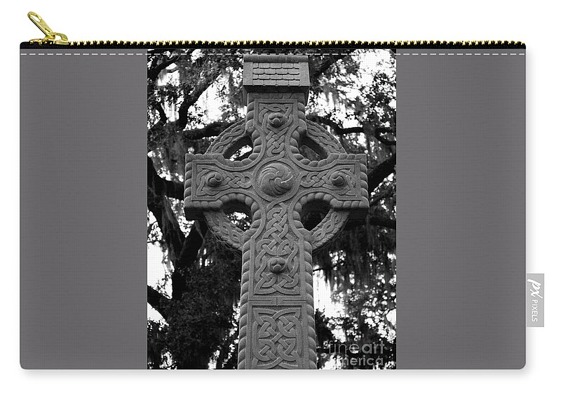 Savannah Carry-all Pouch featuring the photograph Celtic Cross In Emmet Park by Carol Groenen
