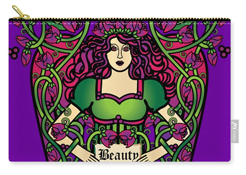 Fantasy Carry-all Pouch featuring the digital art Celtic Forest Fairy - Beauty by Celtic Artist Angela Dawn MacKay
