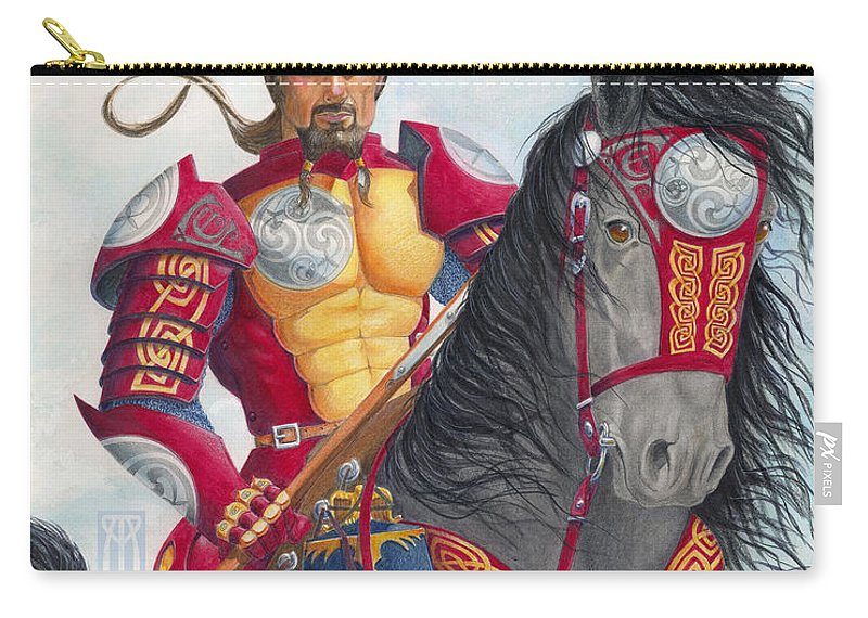 Knight Carry-all Pouch featuring the drawing Celtic Iron Man by Melissa A Benson