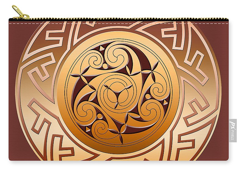 Celtic Carry-all Pouch featuring the digital art Celtic Spiral and Key Pattern by Melissa A Benson