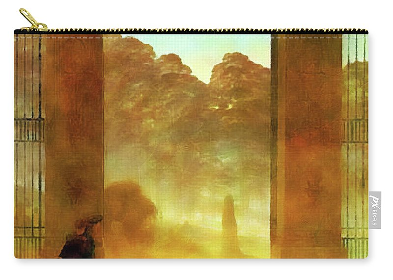 Landscape Carry-all Pouch featuring the painting Cemetary At Dusk by Media Impasto Paper