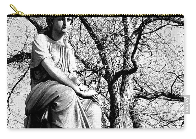 Cemetary Carry-all Pouch featuring the photograph Cemetary Statue B-w by Anita Burgermeister