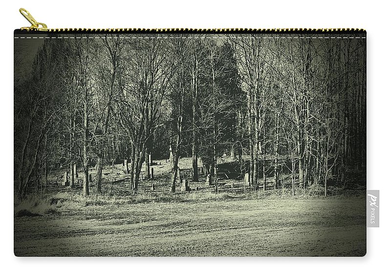 Cemetery Carry-all Pouch featuring the photograph Cemetery In The Woods by Scott Ward