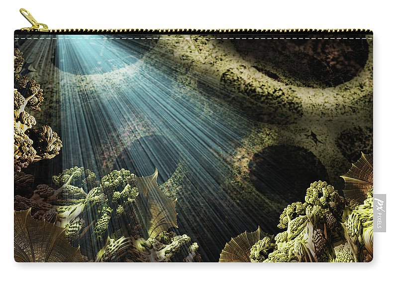 Undersea Carry-all Pouch featuring the mixed media Cenote II by Steven Marcus