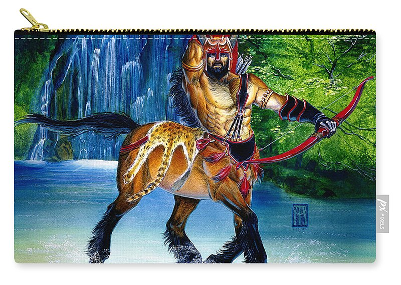 Centaur Carry-all Pouch featuring the painting Centaur In Waterfall by Melissa A Benson
