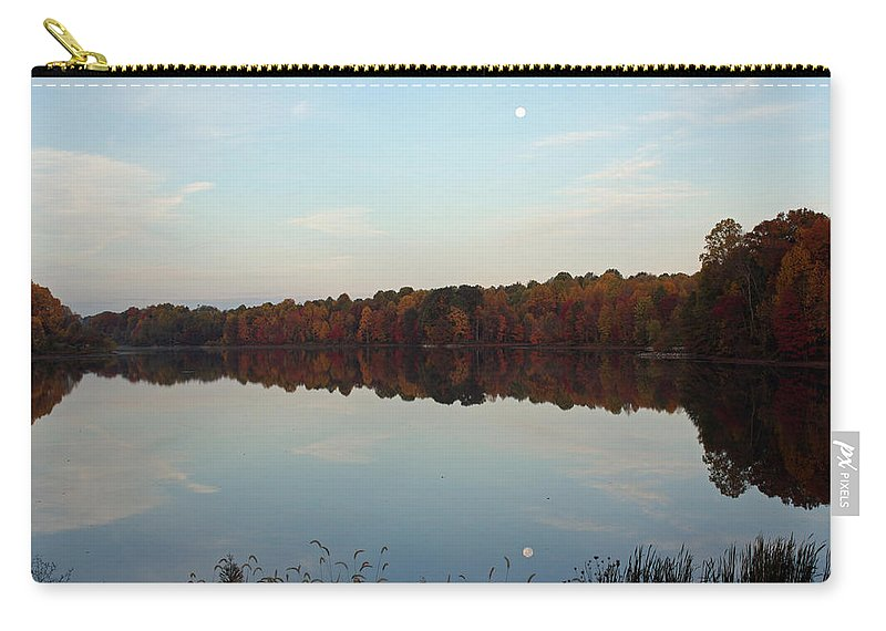 Centennial Carry-all Pouch featuring the photograph Centennial Lake Autumn - Reflective Moon Over The Lake by Ronald Reid