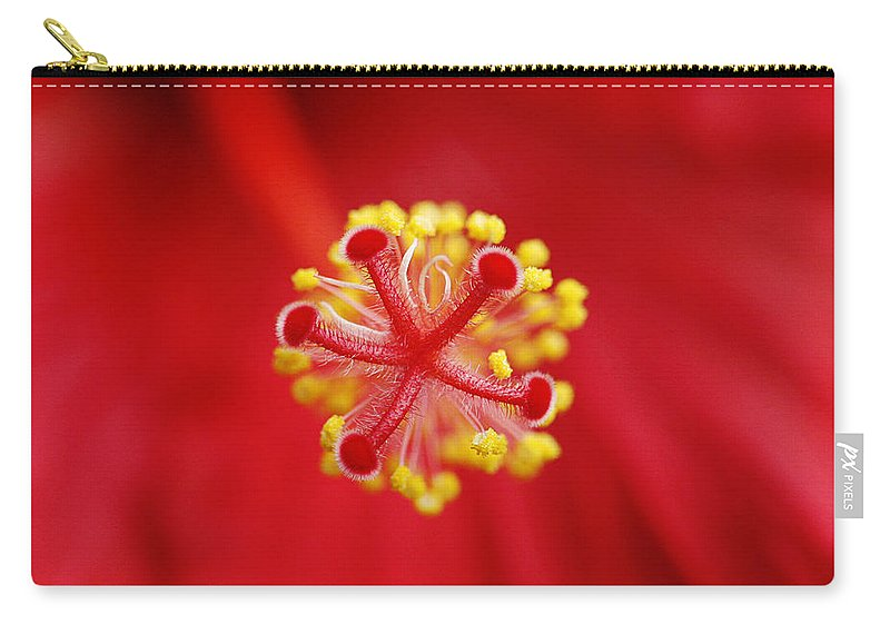 Flower Carry-all Pouch featuring the photograph Center Of The Hibiscus Universe by Marilyn Hunt