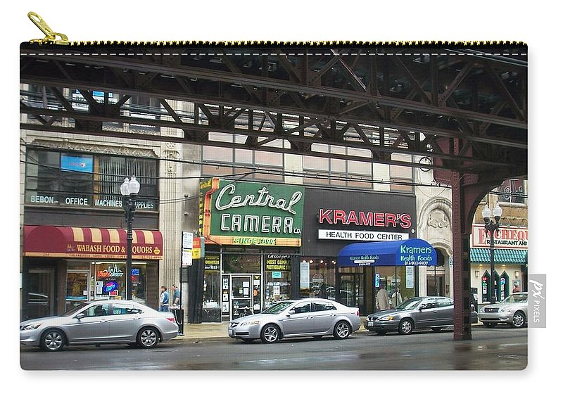 Chicago Carry-all Pouch featuring the photograph Central Camera On Wabash Ave by Anita Burgermeister