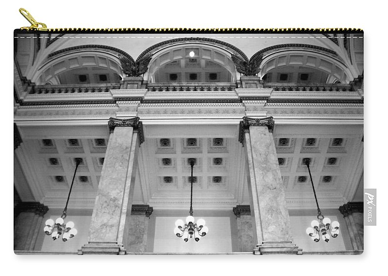 Central Library Carry-all Pouch featuring the photograph Central Library Milwaukee Interior Bw by Anita Burgermeister