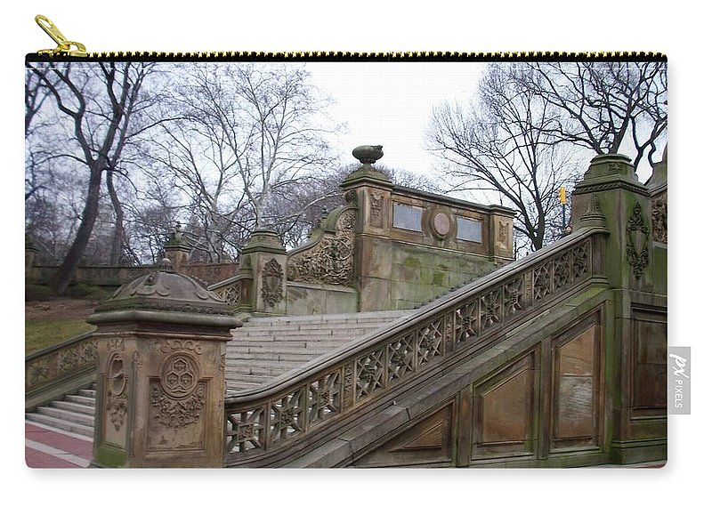 Central Park Carry-all Pouch featuring the photograph Central Park Bethesda 1 by Anita Burgermeister