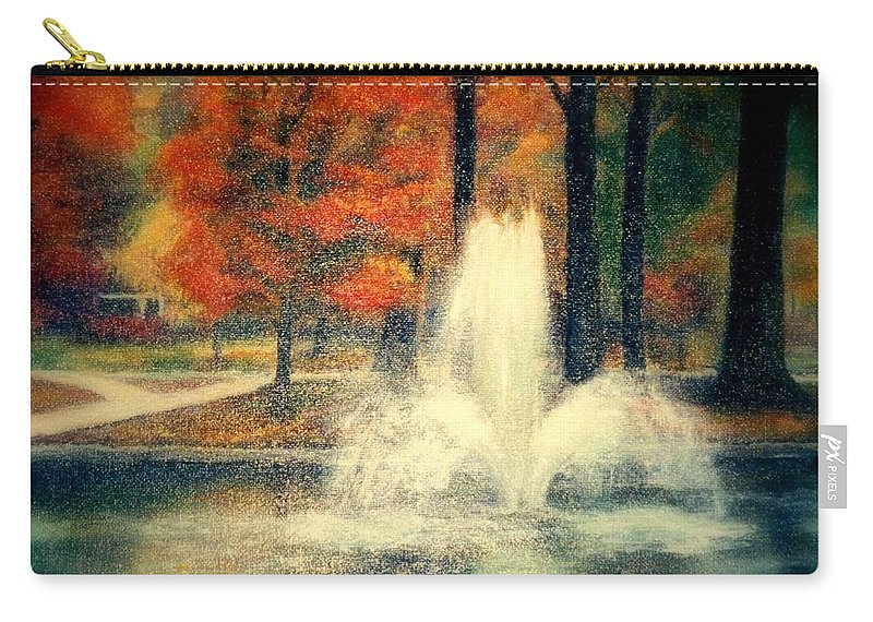Pond Carry-all Pouch featuring the painting Central Park In Autumn by Gail Kirtz