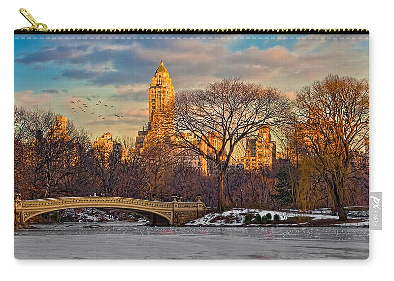 Landscape Carry-all Pouch featuring the photograph Central Parks Famous Bow Bridge by Chris Lord