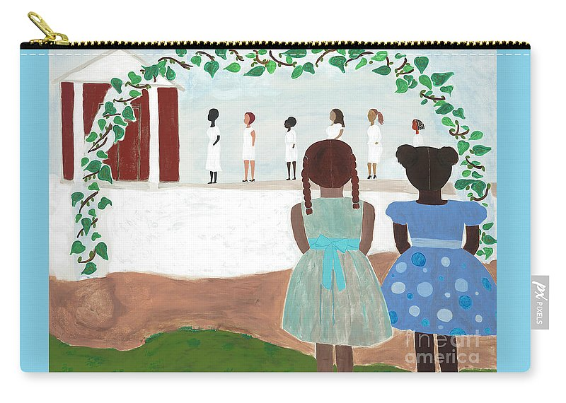 African American Carry-all Pouch featuring the painting Ceremony in Sisterhood by Kafia Haile