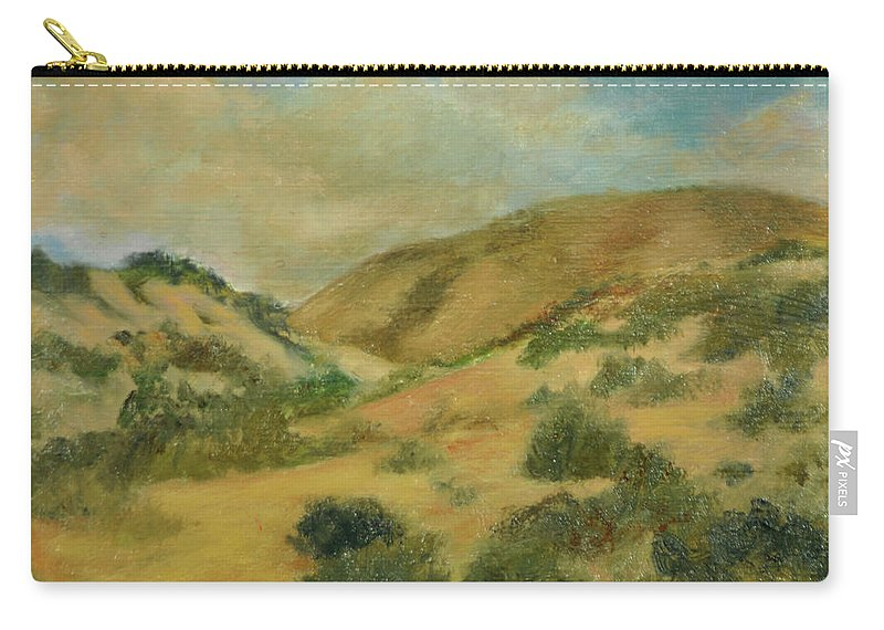 New Mexico Carry-all Pouch featuring the painting Cerillos Hills New Mexico by Phyllis Tarlow