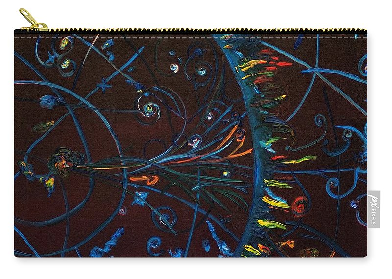 Cern Carry-all Pouch featuring the painting Cern Atomic Collision Physics And Colliding Particles by Gregory Allen Page