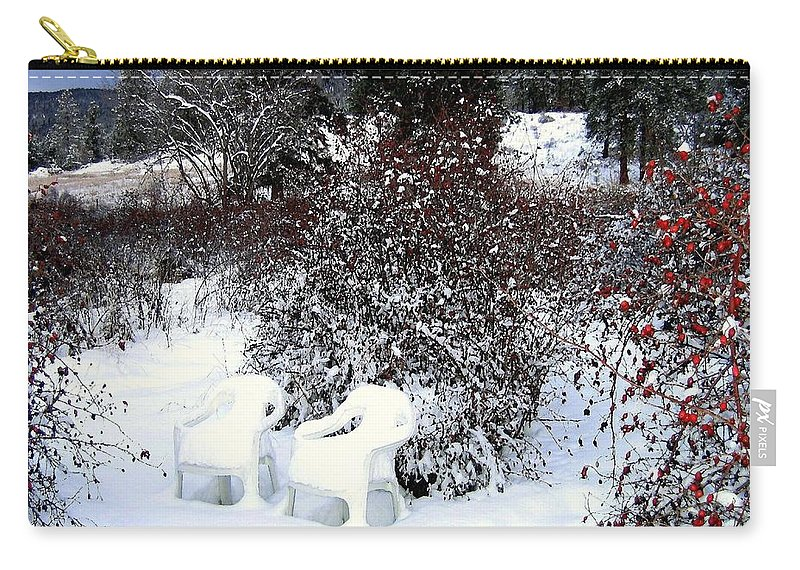 Winter Carry-all Pouch featuring the photograph Chairs For Two by Will Borden