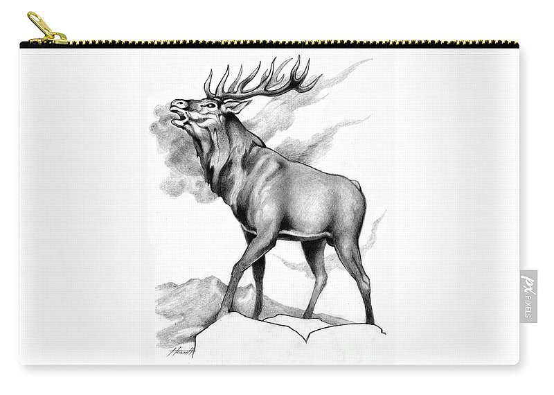 Stag Carry-all Pouch featuring the drawing Challenge Stag 2 by Patricia Howitt