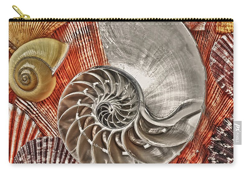 Chambered Nautilus Carry-all Pouch featuring the photograph Chambered Nautilus Shell Abstract by Garry Gay