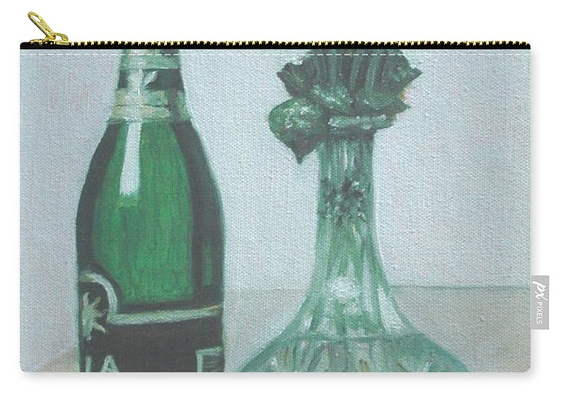 Champagne Carry-all Pouch featuring the painting Champagne And Roses by Usha Shantharam