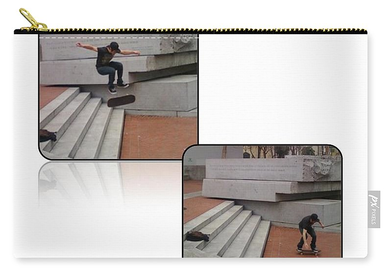 Skate Boarding Carry-all Pouch featuring the photograph Champion In Flight And Landing by Anthony Benjamin