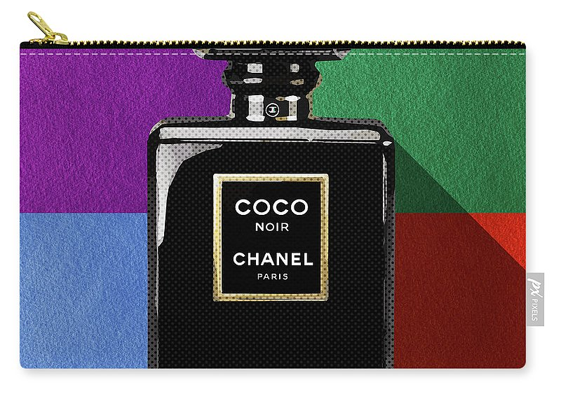 Chanel Coco Noir Carry-all Pouch featuring the digital art Chanel Coco Noir_pop01 by Bobbi Freelance