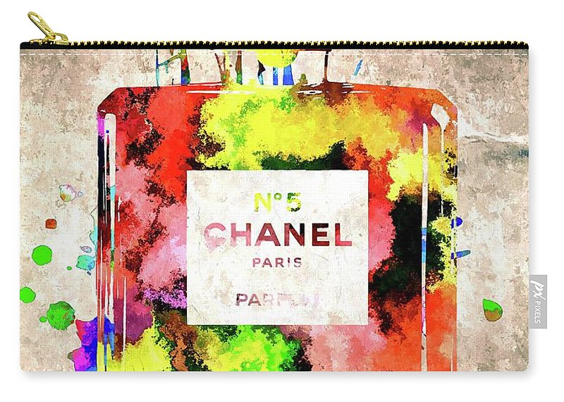 Chanel No. 5 Carry-all Pouch featuring the mixed media Chanel No. 5 Colored by Daniel Janda