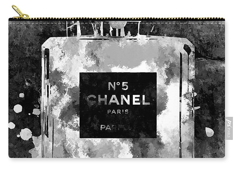 Chanel No. 5 Dark Carry-all Pouch featuring the mixed media Chanel No. 5 Dark by Daniel Janda