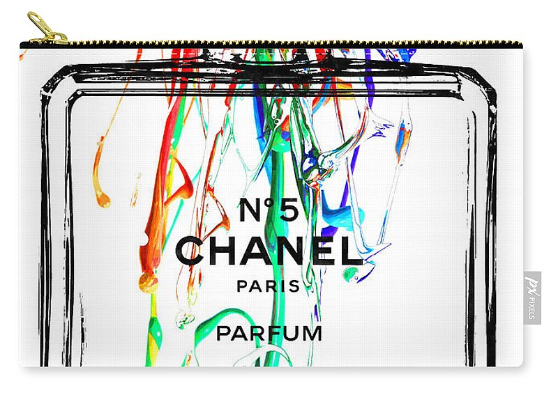 Chanel Carry-all Pouch featuring the mixed media Chanel No. 5 White by Daniel Janda