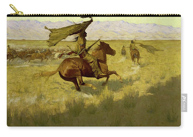 Horses Carry-all Pouch featuring the painting Change Of Ownership -the Stampede Horse Thieves by Frederic Sackrider Remington