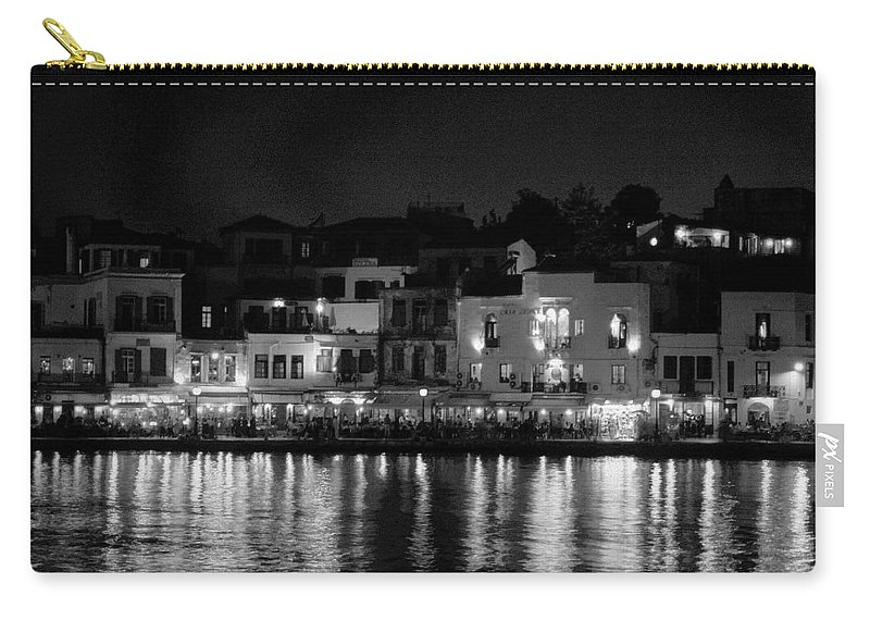 Lehtokukka Carry-all Pouch featuring the photograph Chania By Night In Bw by Jouko Lehto