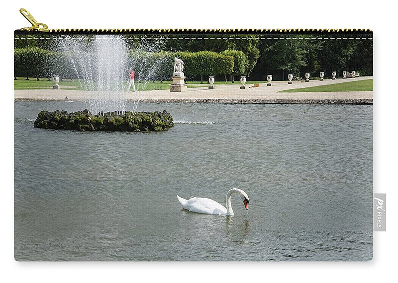 Animals Carry-all Pouch featuring the digital art Chantilly Castle Garden In France by Carol Ailles