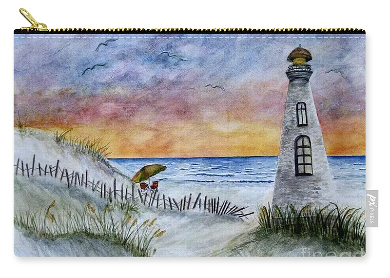 Beach Carry-all Pouch featuring the painting Chaos In The Sky by Lucy McGuffey