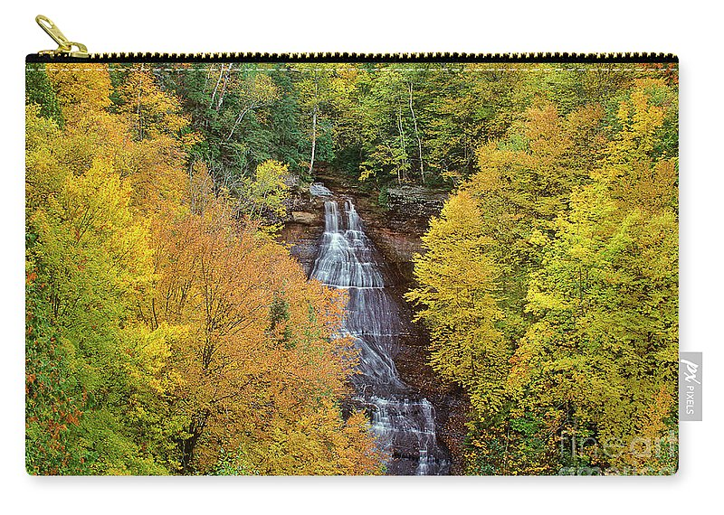 Dave Welling Carry-all Pouch featuring the photograph Chapel Falls Autumn Upper Peninsula Michigan by Dave Welling