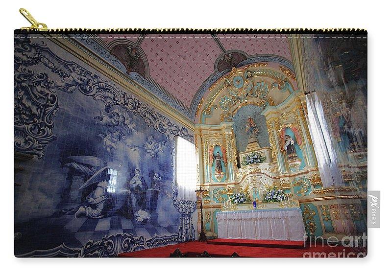 Fenais Da Ajuda Carry-all Pouch featuring the photograph Chapel In Azores Islands by Gaspar Avila