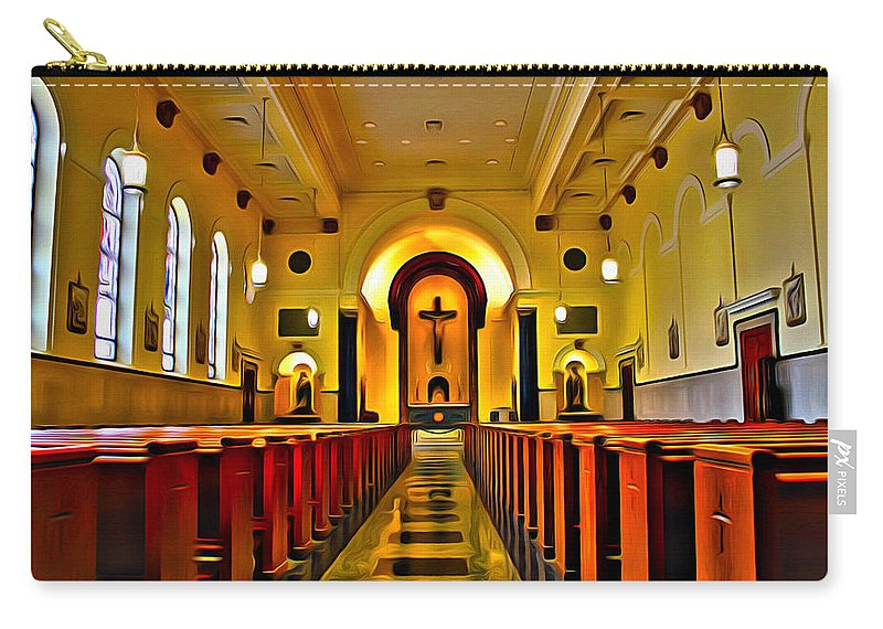 Church Carry-all Pouch featuring the photograph Chapel Interior I by Carlos Diaz