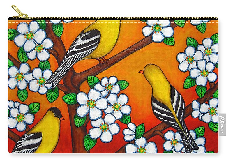 Goldfinch Carry-all Pouch featuring the painting Chardonnay Sunset by Lisa Lorenz