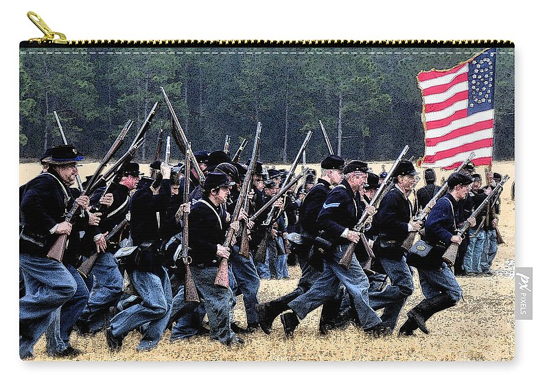 Civil War Carry-all Pouch featuring the painting Charge by David Lee Thompson