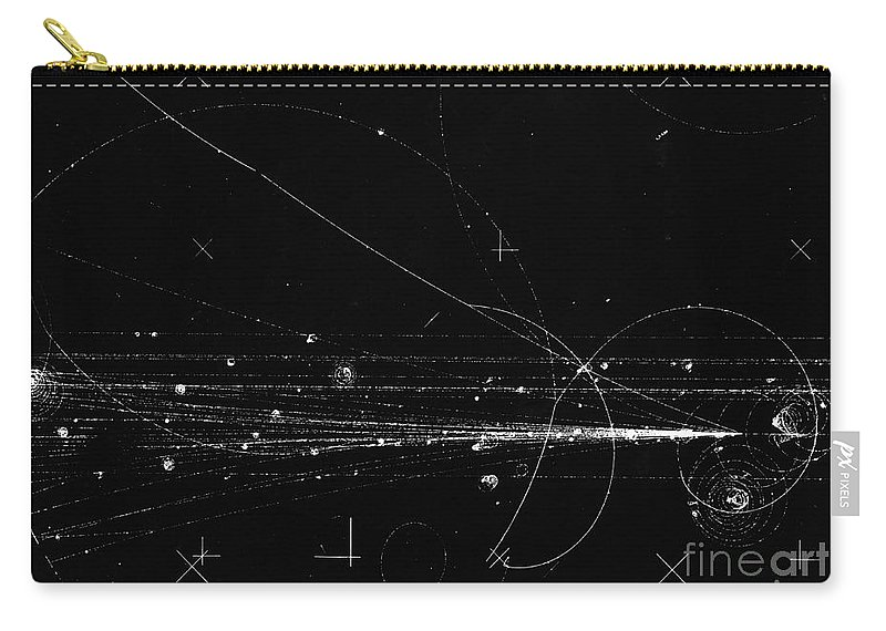 Science Carry-all Pouch featuring the photograph Charged Particles, Bubble Chamber Event by Science Source