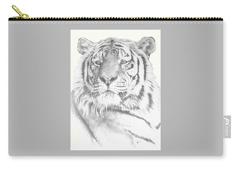 Tiger Carry-all Pouch featuring the mixed media Charisma by Barbara Keith