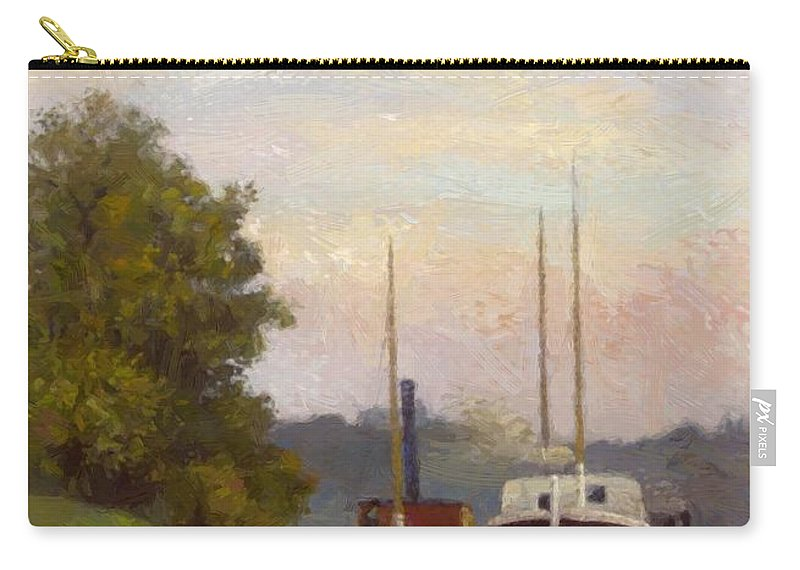Charlands Carry-all Pouch featuring the painting Charlands Sur La Seine 1885 by DuboisPillet Albert