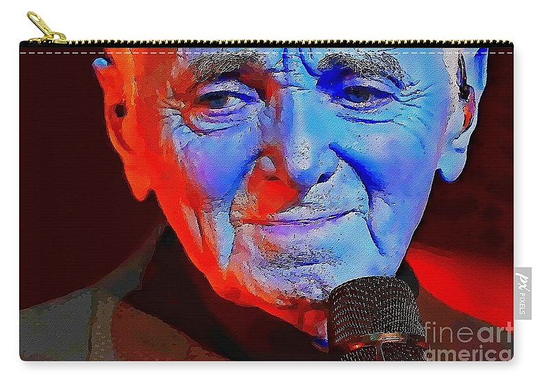 Charles Aznavour Carry-all Pouch featuring the digital art Charles Aznavour by David Conin
