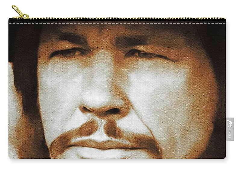 Charles Carry-all Pouch featuring the painting Charles Bronson, Hollywood Legend by Mary Bassett