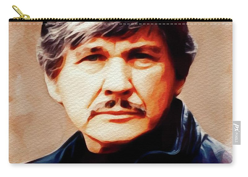 Charles Carry-all Pouch featuring the painting Charles Bronson, Movie Legend by John Springfield