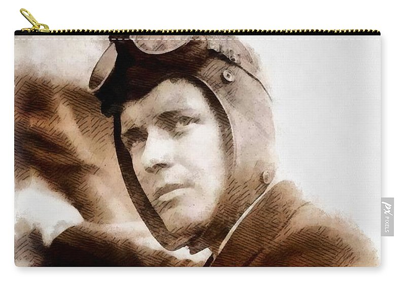 Charles Carry-all Pouch featuring the painting Charles Lindbergh, Aviator by John Springfield